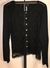 Too Fast Cirque Couture XXL 1x Black Lace Cardigan Sugar Skull Buttons
