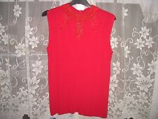 KLASS COLLECTION RED CHRISTMAS PARTY SLEEVELESS BEADED ZIPPED TOP SIZE MEDIUM
