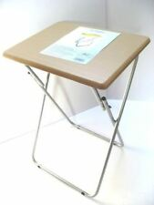 59CM Medium Multipurpose Beech Wood Foldable Table w/ Folding Steel Legs/Stand