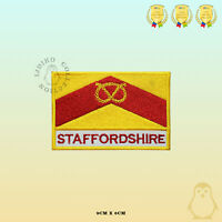 STAFFORDSHIRE County Flag With Name Embroidered Iron On Sew On Patch Badge
