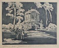 Friedrich der 2. und Voltaire, Aquatinta, Potsdam, Radierung, Preußen, Sanssouci