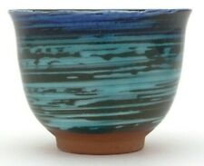 Blue & Green Streak Senchawan Japanese Tea Cup Yunomi (for loose tea) HANDMADE