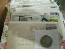 """10oz of Us, foreign stamps, postcards & covers sent in box. -""""bonus coin"""""""