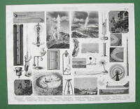 METEOROLOGY Instruments Lightning Rod Mirage Rain - Original Print Engraving