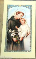 Image pieuse avec prière Saint Antoine de Padoue 11,5 cm x 6,5 cm
