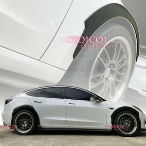 Matte Black front rear fender flare kit for Tesla 17~20 Model3 sedan ◎