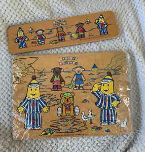Lot of 2 Vintage 1993 Bananas In Pyjamas ABC Kids Wooden Puzzle Beach Nostalgia