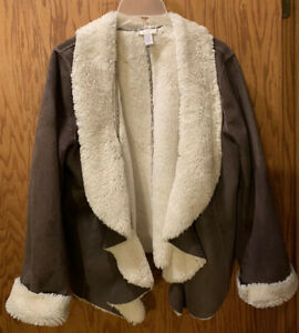 Chico's Faux Sherpa Jacket Brown Size 1