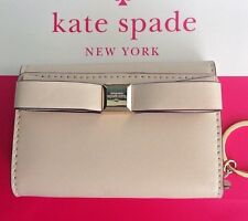 Kate Spade Montford Park smooth DARLA Leather Wallet W/key ring w/Bow in Pebble