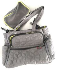 Skip Hop Forma Quilted Diaper Bag Gray Shoulder Baby Multifunction Travel Tote