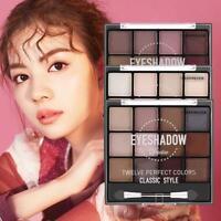 12Colors Cosmetic Matte Lidschatten Lidschatten Makeup Palette Shimmer + Pinsel