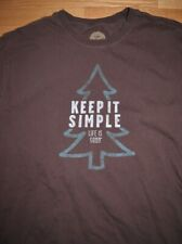 Life is Good Keep it Simple Long Sleeve T Shirt Brown Evergreen Tree Mens L