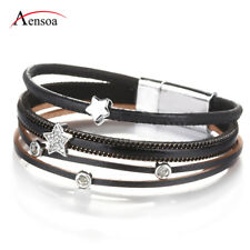 New Women Little Star Rhinestone Multi-layer Leather Bangle Cuff Bracelets Gifts