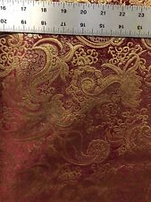 BURGUNDY GOLD METALLIC PAISLEY BROCADE FABRIC (60 in.) Sold By The Yard