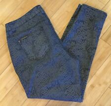 Celebrity Pink Stylish Black & Gray Reptile Print Skinny Jeans Women's Sz 18 EUC