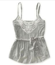 NWT AEROPOSTALE Aero Womens Grey Pleated Lace Tank Top Shirt w/tie XLarge XL $27