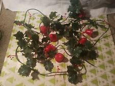 Vintage Timco Hard Plastic 7 Bells and Holly Christmas Garland set 9 Feet