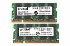 4GB (2x 2GB) Crucial 2GB PC2-6400 DDR2 800MH​z 200pin Sodimm Laptop Memory RAM