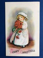 Very Nice Ellen Clapsaddle Christmas Postcard, Young Girl w Red Flowers. Value.