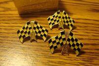 NASCAR: #3 Racing Flag Enameled Gold Tone Checkered Race Flag Design Lapel Pins