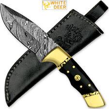 White Deer Handmade Loneman Damascus Steel Hunting Knife Limited Edition SHARP!