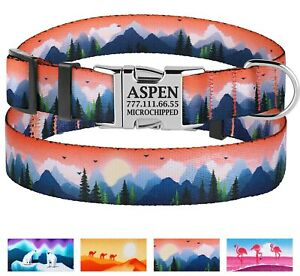 Nylon Personalized Dog Collar Free Engraved Collars Small Medium Large Dogs