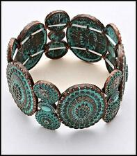 Rustic Boho OVAL DISC TURQUOISE & COPPER PATINA Verdigris STRETCH BRACELET