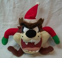 "WB Looney Tunes CHRISTMAS TAZ IN SANTA SUIT 7"" Plush STUFFED ANIMAL Toy"