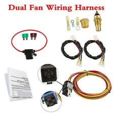12V 185/165 Car Electric Dual Fan Relay Wiring Harness Thermostat Sensor 40A Kit