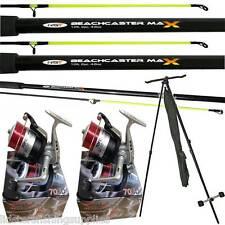 2 x 12ft Beachcaster Rods + 2 Silk 70 Reels + NGT Tripod Sea Fishing Set Kit