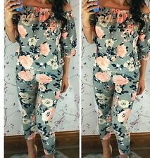 ladies Megan McKenna Floral Print Off Shoulder Tracksuit Set LoungeWear s/m left