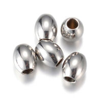 20pc 304 Stainless Steel Oval Metal Beads Smooth Loose Spacers Beading Craft 6mm