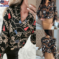 Womens Chain Printed Tunic Top Shirt Ladies Long Sleeve V Neck Blouse T-Shirt US