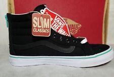 Vans SK8 Hi Slim Zip Iridescent Eyelets Suede Leather Black Blue Shoe Women 9.5