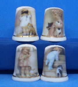 Birchcroft China Thimbles -- Set of Four Large Size -- Children & Pets ( SALE )