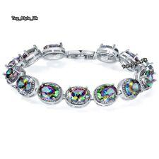 Gifts Present for Her Black Fire Diamonds Tennis Bracelet Women Wife Fiance J659
