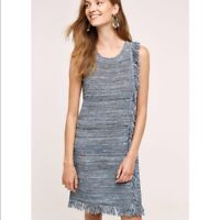Holding Horses Anthropologie Blue Fringe Sweater Dress Size Large L