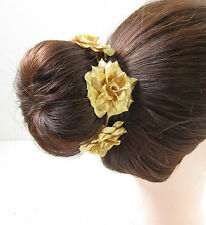 Dusky Rose Foncé Or Fleur Rose Serre-tête plume courses cheveux 6982