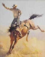WONDERFUL VINTAGE WESTERN BUCKING COWBOY RODEO PRINT #1