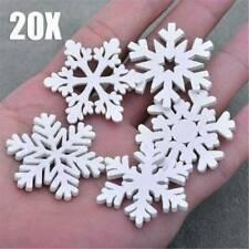 20X Christmas Snowflakes Wooden Pendants Xmas Tree Ornaments Hanging Decor Fun