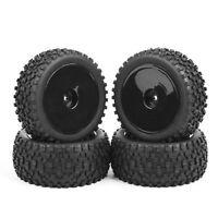 4pcs Rubber Buggy Front&Rear Tires & Wheel Rim Fit 1:10 HSP RC Off-Road Car