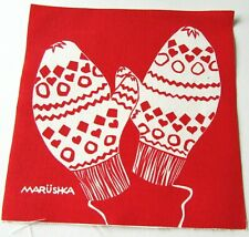 MARUSHKA Textile Print Panel Fabric Piece Mittens on Red