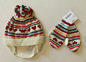 NWT Gymboree Mountain Cabin 2T-5T Heart Stripe Sweater Hat & Mittens