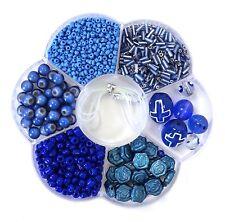 Bead Kits Jewelry Making Blue 6 different Variety Beads Cross Faith kit bead box