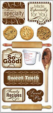 FRESH BAKED (13pc) Chipboard Sticker Set scrapbooking ROLLING PINS MEASURING CUP