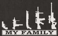 My Family Gun Rifle AR Pistol Funny Stick People Sticker Car Laptop Bumper Decal