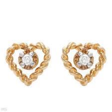 10K SOLID YELLOW GOLD 0.03 CTW DIAMOND HEART GIRLS STUDS