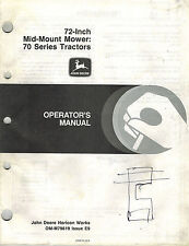 JOHN DEERE 72-INCH MID-MOUNT  MOWERS OPERATOR'S MANUAL for 70 Series Tractors jd