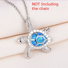 Beautiful Blue Fire Opal 925 Sterling Silver Turtle Necklace Silver Chain 40cm