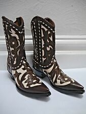 NEW OLD GRINGO floral inlayed brown ivory leather cowboy boots size 7